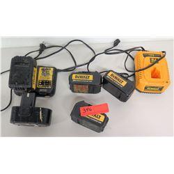 Qty 4 DeWalt Batteries, 2 DeWalt Chargers