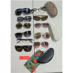 Qty 9 Sunglasses, 4 Cases - Coach, Kate Spade, Bomber, etc