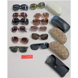 Qty 12 Sunglasses w/ 4 Cases - Coach, Kate Spade, Marc Jacobs, Ray Ban, etc