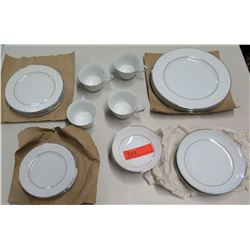 4-Place Setting China (Made in Japan), White w/ Silver Border (1 of salad & 1 dinner plate missing)