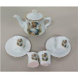 7-Piece Hummel Porcelain Tea Set - Tea Pot, 2 Cups & Saucers, Creamer & Sugar Pot