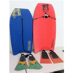 Qty 2 Hand Glove Boogie Boards w/ 2 Pairs Fins
