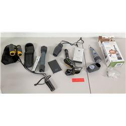WinPlus Power Bank, Binoculars, Dremel Tool, Misc Flashlights, etc