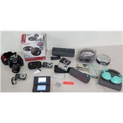 Canon EOS Rebel T11 Camera, Bose Blue Headphones, Pioneer Speaker, Cameras, etc