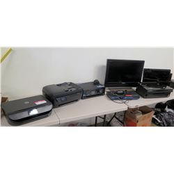 Qty 3 Printers (2 Epson, 1 HP), Sony Blu-Ray Player, Sony Monitor