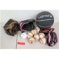Sporting Goods - 4 Baseball Gloves, 8 Baseballs, 1 Basketball