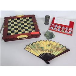 Oriental Chess Board, Jade (or natural stone) Frog, Beijing Opera Mask Set, Metal Cup