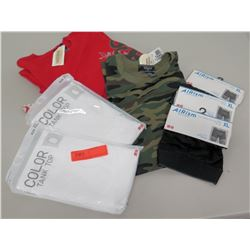 New Clothing - Red & Camo T-Shirts, 2 White Tank Tops, AIRism Briefs