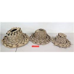 3 Woven Coconut Lauhala Hats - Various Sizes