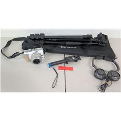 Olympus Penn E-PL1 Camera, Targus Tripod, Extension Pole & Headphones