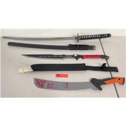 Qty 3 Swords, Knives, Katana Swords (2 w/ Sheaths)