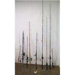 Qty 10 Fishing Poles (Some w/ Reels) - Okuma, Sienna, PowerRod, etc