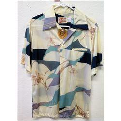 Vintage Aloha Shirt - Hawaiian Fashions, Ivory w/Orchids, Sz M