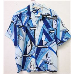 Vintage Aloha Shirt - Tropicana Hawaii, Blue & White w/Sailboats, Sz M