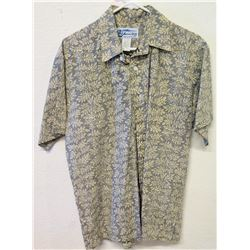Vintage Aloha Shirt - American Liberty Hawaii, Gray w/ Tan Leaves, Sz M