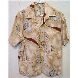 Vintage Aloha Shirt - Mele Mele Honolulu, Tan & Blue Paisley, Sz M