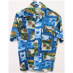 Vintage Aloha Shirt - Waikiki Holiday, Blue Green, Sz M