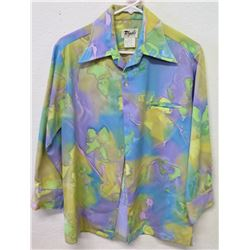 Vintage Retro Tegaki Hand Paints Long Sleeve Shirt, Blue/Green, Sz S