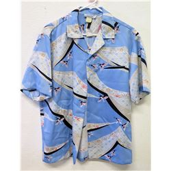 Vintage Aloha Shirt - Mark Raysten (Div. of Malihini) Blue White w/Cranes, Sz M