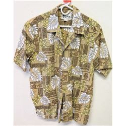 Vintage Aloha Shirt - Howie Hawaii, Brown & White, Sz M