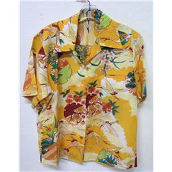 Vintage Aloha Shirt - Orange & Yellow w/Crane Motif, No Tags, Size Unknown