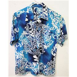 Vintage Aloha Shirt - G.V.H. Hawaii Print, Blue White, No Tags, Size Unknown