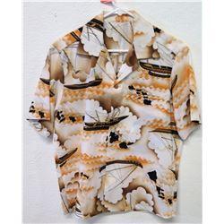 Vintage Aloha Shirt - Outrigger & Hawaiian Island Chain Motif, Size M