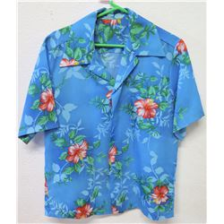 Vintage Aloha Shirt - Blue w/ Red Hibiscus, No Tags, Size Unknown