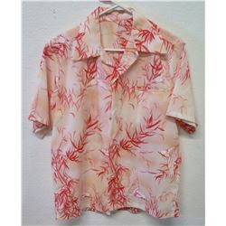 Vintage Aloha Shirt - Red & White w/ Cranes, No Tags, Size Unknown