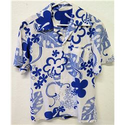 Vintage Aloha Shirt - White & Blue Floral Print, No Tags, Size Unknown