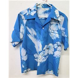 Vintage Aloha Shirt - Blue & White 88084 Hibiscus Print, No Tags, Size Unknown