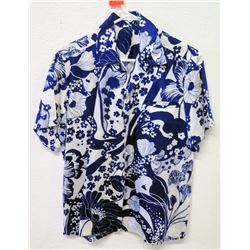 Vintage Aloha Shirt - Blue & White Floral Print, No Tags, Size Unknown