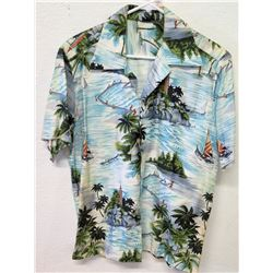 Vintage Aloha Shirt - White & Blue Palm Trees/Fishing Scenes, No Tags, Size Unknown