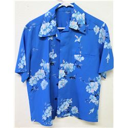 Vintage Aloha Shirt - Blue w/ White Hibiscus Clusters, No Tags, Size Unknown