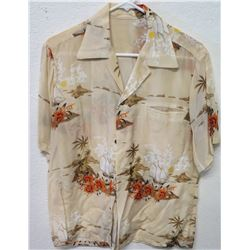 Vintage Aloha Shirt - Tan w/ Sailing Canoe, Palm Trees, No Tags, Size Unknown