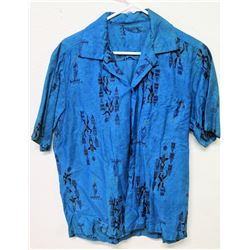 Vintage Aloha Shirt - Blue Historic Hawaiiana Figures, No Tags, Size Unknown