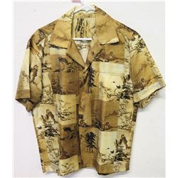 Vintage Shirt - Brown Yellow Tones, Asian Scenes, No Tags, Size Unknown