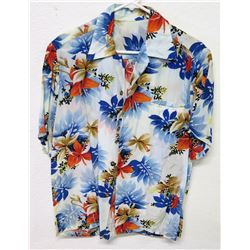 Vintage Aloha Shirt - Blue & Red Floral Print, No Tags, Size Unknown