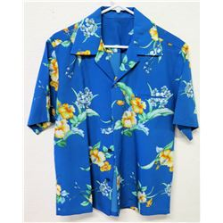 Vintage Aloha Shirt - Blue w/ Yellow Hibiscus, No Tags, Size Unknown