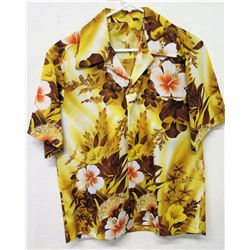 Vintage Aloha Shirt - Brown w/ Pink Hibiscus, No Tags, Size Unknown