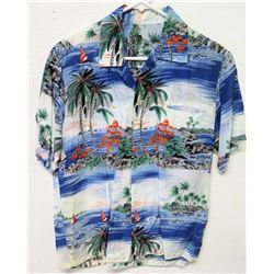 Vintage Aloha Shirt - Blue & Red Palm Tree/Sailing Motif, No Tags, Size Unknown