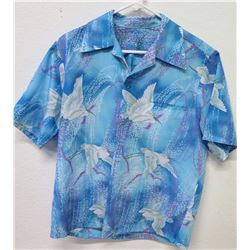 Vintage Hawaii Blue Tones & White Cranes, No Tags, Size Unknown