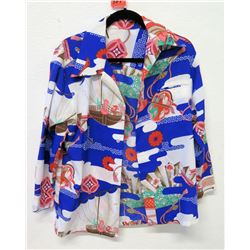 Vintage Multicolored Asian Motif Long-Sleeve Shirt, No Tags, Size Unknown