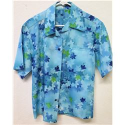 Vintage Hawaii Blue Tones w/ Green Floral Print, No Tags, Size Unknown