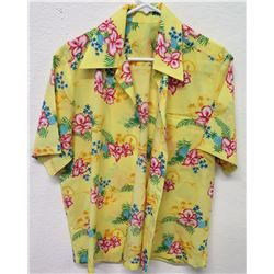 Vintage Aloha Shirt - Yellow Floral Print, No Tags, Size Unknown