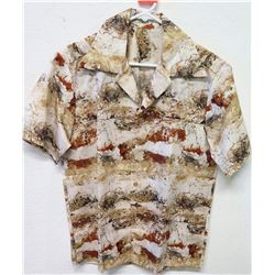 Vintage Shirt - Brown Beige Abstract Print, No Tags, Size Unknown