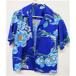 Vintage Shirt - Cobalt Blue Asian Inspired Floral Print, No Tags, Size Unknown