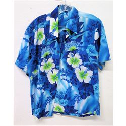 Vintage Aloha Shirt - Blue w/Green Hibiscus Floral Print, No Tags, Size Unknown