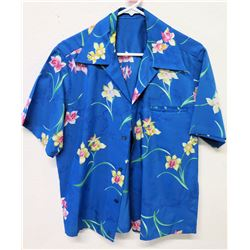 Vintage Aloha Shirt - Blue w/Orchids, No Tags, Size Unknown