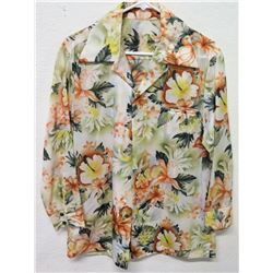 Vintage Aloha Shirt - Multicolored Long Sleeve Hibiscus Print, No Tags, Size Unknown